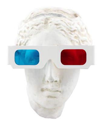 bust with 3D glasses